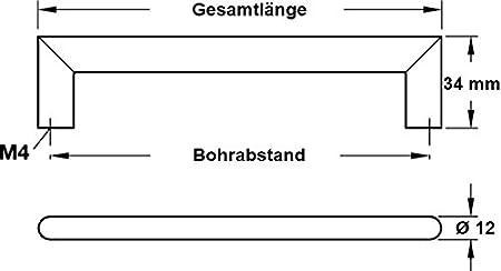 Griffe mit Schrauben LEILA Schrankgriffe Edelstahl matt geb/ürstet 10 St/ück Lochabstand 128 mm Gedotec Design Edelstahl M/öbelgriffe 128 mm Stangengriffe rund