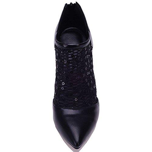 LongFengMa Fashion Women Stiletto Boots Pumps Lace Heels Zip Closure Black tr2n4