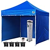 Eurmax 10x10 Ft Easy Pop-up Canopy Commercial Instant Party Tent with 4 Removable Sides and Roller Bag, Bonus 4pcs Weight Bags (Royal Blue)