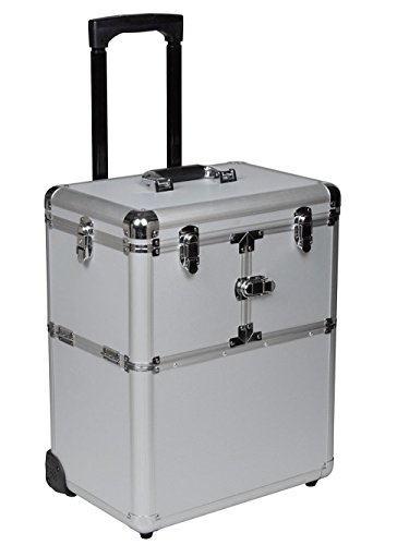 "TMS 19"" Makeup Rolling Artist Cosmetic Train Case Aluminum Beauty Silver Lock Box"
