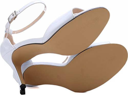 Salabobo Womens Sexy Wedding Bride Bridesmaid OL Night Party Work Stiletto Peep Toe PU Sandals White xQuckGc