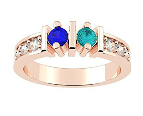 NANA Straight Bar w/Side CZs Couples 2 stones Ring with His & Hers Simulated Birthstones - 14k Rose Gold - Size 6 by NaNa
