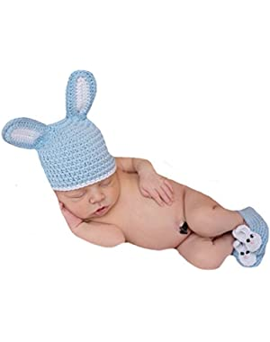 Melondipity Blue Bunny Hat and Booties Set