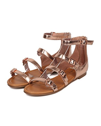 Breckelles Kvinner Spent Flat Sandal - Strappy Åpen Tå Sandal - Gladiator Sandal - Ha10 Ved Steg Gull Metallisk