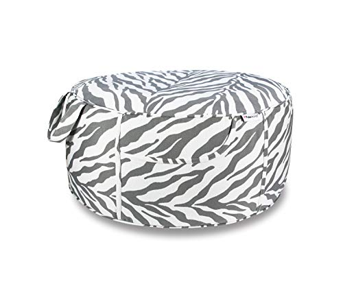 Fabritones Indoor Outdoor Inflatable Stool Round 21x9 Inch Ottoman Grey Zebra Pattern Portable Foot Rest for Patio, Camping Home Yoga - Suitable for Kids and Adults (Ottoman Zebra)