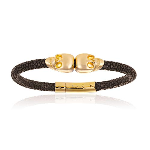 - Double Bone Double Skull Genuine Stingray Leather Bracelet with Yellow Gold Unisex (Brown, 17)