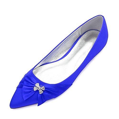 Soirée L Chaussures YC Bowknot Mariage blue Satin Comfort Plat pour Robe 5047 Satin 23 Summer de amp; de Talon Spring Party Mariée Fleur Femmes rUrwdq