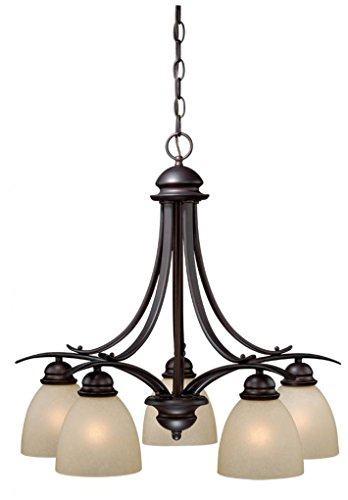 Vaxcel USA ALCHD005OBB Avalon 5 Light Transitional Chandelier Lighting Fixture in Bronze, Glass