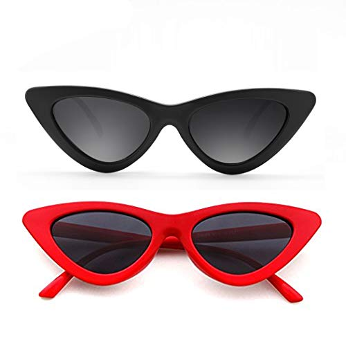 Cat Eye Sunglasses for Women Red Black Retro Style Plastic Frame UV Protection 2 pack (Sunglasses Cat Eye)