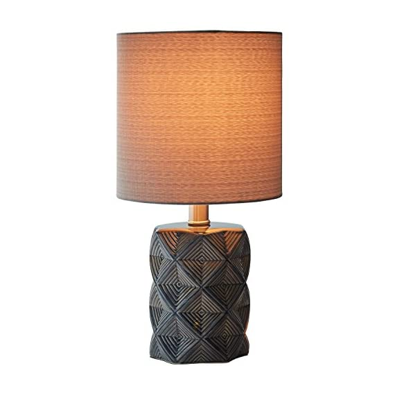 "Rivet Geo Modern Black Ceramic Living Room Table Desk Lamp With LED Light Bulb - 15 Inches, Grey - Geometric shapes in shades of grey and black give this lamp's ceramic base a modern feel, while a fabric drum shade, also in grey, gives it a classic hint. This lamp will add pleasing ambient light to transitional or modern décor. 8"" Diameter x 15""H Ceramic base, grey fabric shade - lamps, bedroom-decor, bedroom - 41KwINRPvaL. SS570  -"