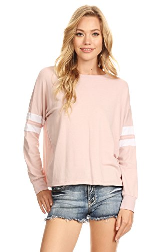 A+D Womens Casual Stripe Crewneck Pullover Sweatshirt Top (Dusty Pink, Small) - Crew Neck Pullover
