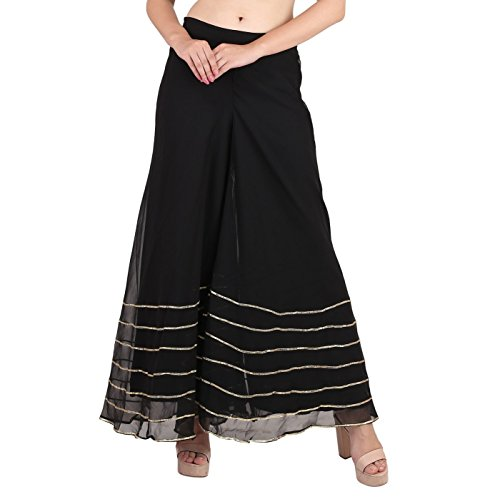 - Shararat Women's Palazzo Pant Georgette Loose Wide Lace Work High Waist Sharara Black