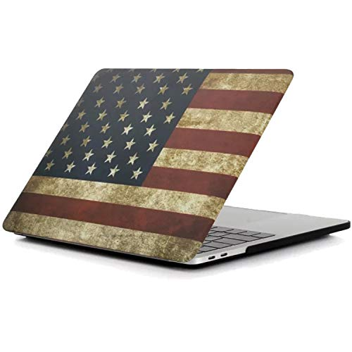 New MacBook Pro 13 Inch Case, iZi Way USA Flag Image Rubber Coated Hard Shell Cover for MacBook Pro 13 with Retina Display A1989 & A1706 & A1708 (Fits Regular & Touch Bar)