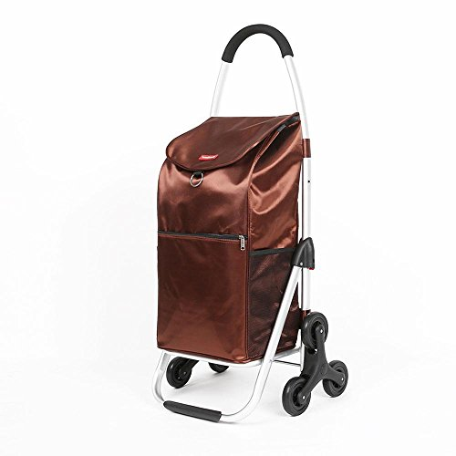 HCC& Shopping Cart Dolly Climb the stairs Collapsible Portable Trolley High capacity Groceries car High Strength EVA Rolling Swivel Wheels Dynamic load: 35kg , Brown by HCC& (Image #8)'
