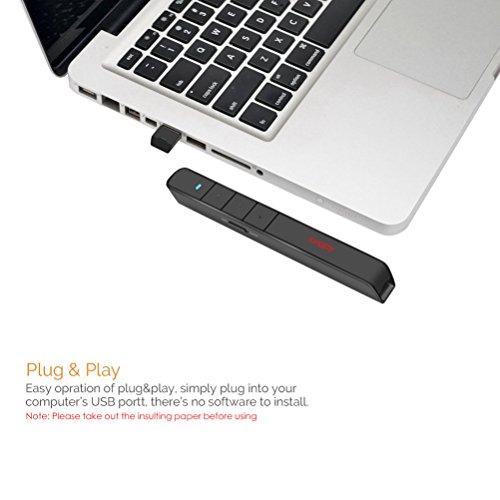 Wireless Presenter Longjoy RF 2.4GHz PowerPoint Clicker Presentation Remote Control Laser Pointer Clicker Flip Pen by Longjoy (Image #3)