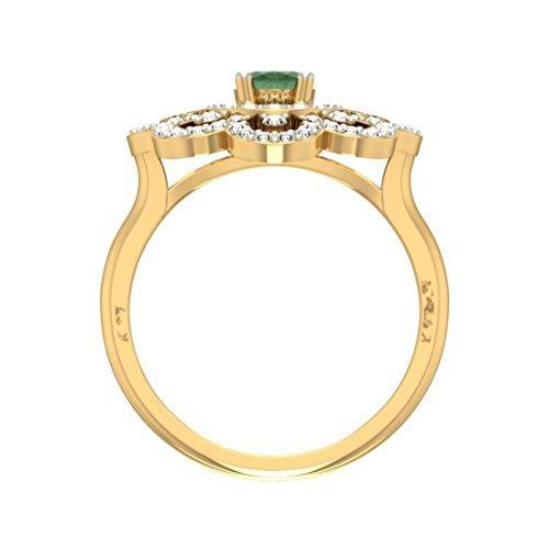 14K Or jaune, 0,7carat Diamant Taille ronde (IJ | SI) Semi Précieuses Émeraude et diamant Bague
