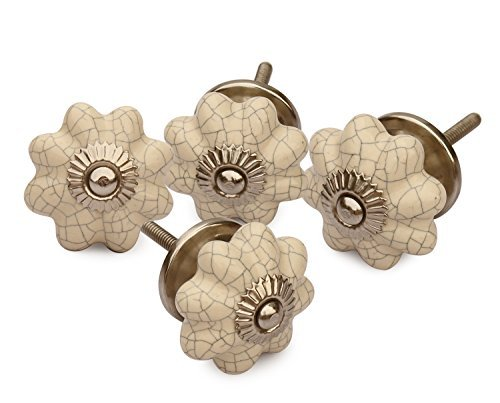 Big Sale Offer - Set of 4 Ceramic White Pumpkin Decorative Antique Door Knobs- Interior Round Knobs and Pulls for Cabinet/Girls Dresser/Kids Cupboard (Ivory Standard Size)