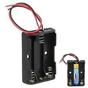 DIY 4.5V 3-Slot 3 x AAA batería caja de la caja del sostenedor con los plomos