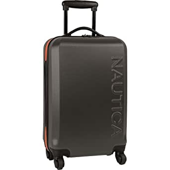 Nautica Luggage Ahoy 21 Inch Hardside Spinner, Grey/Orange, One Size
