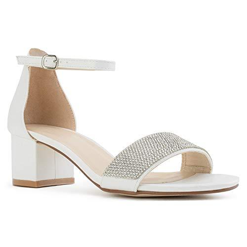 (RF ROOM OF FASHION Women's Ankle Strap Low Block Chunky Heel Dress Sandal Pumps White (6.5))