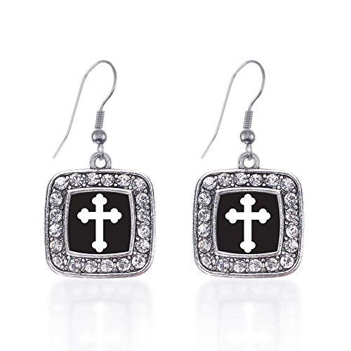 Inspired Silver - Vintage Cross Charm Earrings for Women - Silver Square Charm French Hook Drop Earrings with Cubic Zirconia Jewelry (Earrings Cross Hook French)