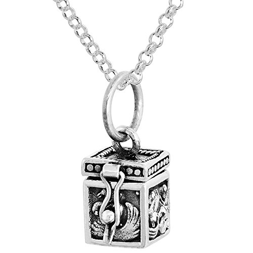 Sterling Silver Prayer Box Necklace Swans Motif, 3/8 inch 30 inch Chain Rol_1 (Motif Wax Seal)