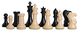 "Fischer Plastic Chess Set - Pieces Only - 4.0"" King - Black & Natural - by The House of Staunton"