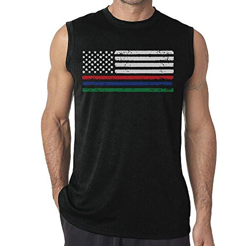 JohnKi Mens Thin Red Blue Green Line American Flag Sleeveless T-Shirt Top Bodybuilding Tank Tops for Running