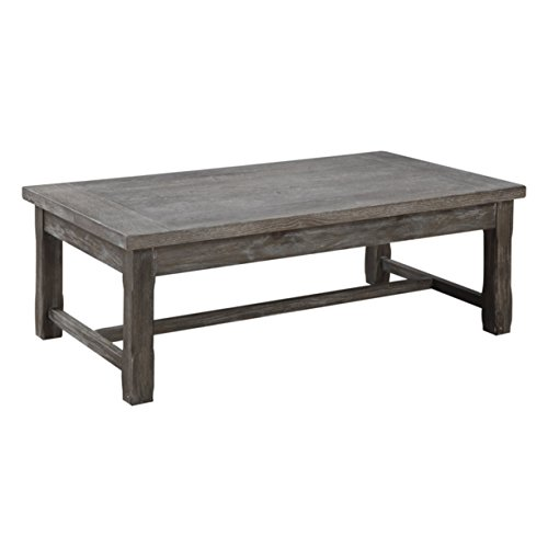 (Emerald Home Paladin Rustic Charcoal Gray Coffee Table with Plank Style Top And Farmhouse Timber Legs)