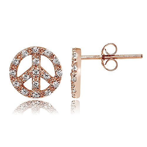 Rose Gold Flashed Sterling Silver Cubic Zirconia Peace Stud Earrings ()