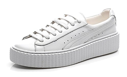 Aisun Womens Casual Sports Round Toe Low Top Thick Sole Lace Up Flat Platform Sneakers Shoes White UtPqHrtd
