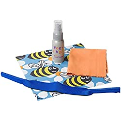 Leader 341030000 Kids Eyeglass Lens Care Kit, Twin Pack Cloth, Lycra Holder, 1 oz Cleaner.