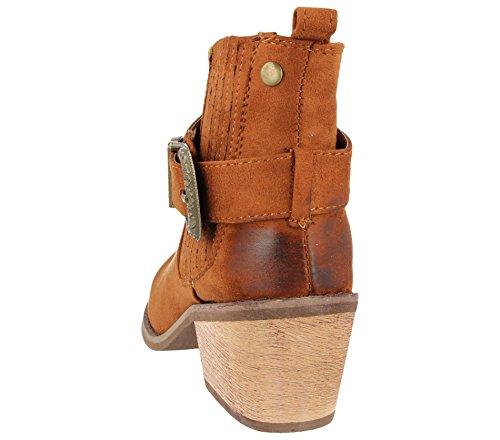 Footwear Mid Cowboy 8 Fashion Size 3 Boots Cognac Block Ladies Twin Foster Leather Heel Ankle Low Faux Chelsea Buckle Western Gusset 8d87w