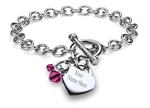 Silver Bracelet Charm Topaz - CoolRings Personalized Charm Bracelet Simulated Birthstone Crystal Charm Heart Toggle Stainless Steel 7.5