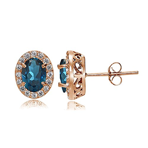 Rose Gold Flashed Sterling Silver London Blue and White Topaz Oval Halo Stud Earrings