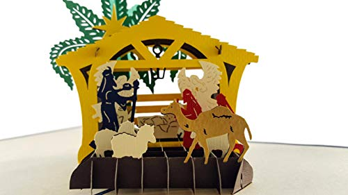 iGifts And Cards Unique Christmas Three Kings Nativity 3D Pop Up Greeting Card - Baby Jesus, Holy Mary, St. Joseph, Stable, Sheep, Camel, Manger, Angels, Wise Men, Bright Star, Savior, Half-fold