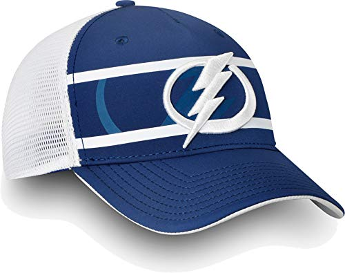 Football Fanatics NHL Men's Tampa Bay Lightning Authentic Pro Second Season Blue Trucker Adjustable Hat(OneSize)