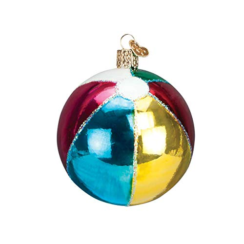 (Personalized Beach Ball Glass Blown Christmas Ornament for Tree by Old World Christmas)