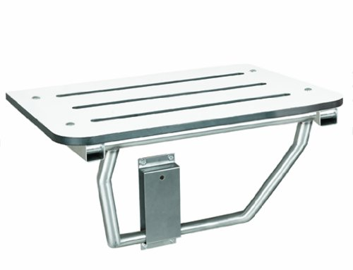 "Bradley 9562-000000 White Phenolic Folding Shower Seat, 28-1/2"" Width x 15"" Depth x 1/2"" Thick"