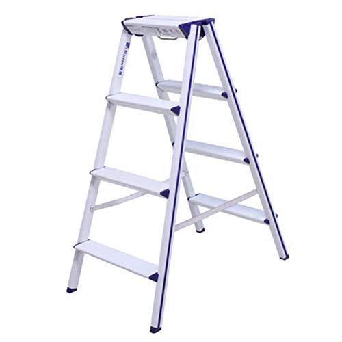 - Folding Portable 4-Step Aluminum Ladder Step-Slip Stable Multi-Function Home Loft Library Lift/Flower Stand/Shelf/Stool - Load Capacity 150kg, White