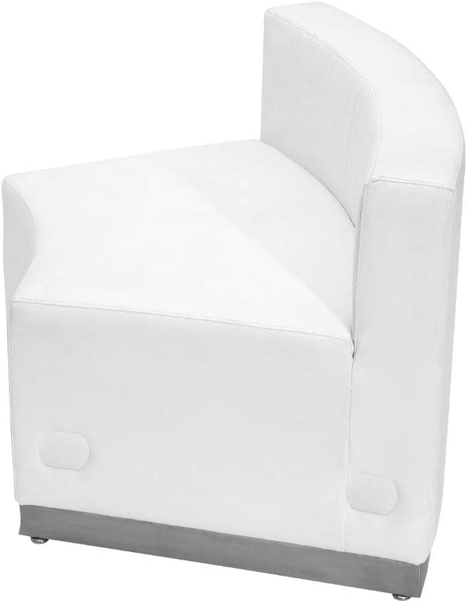 Flash Furniture HERCULES Alon Series Melrose White Leather Concave Chair with Brushed Stainless Steel Base