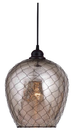 Kenroy Home 93038AMER Nillo 1-Light Pendant, Blackened Oil Rubbed Bronze