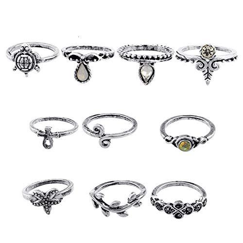 10 Pcs Boho Knuckle Rings Vintage Stackable Midi Finger Ring Set for Women Girls Bohemian Retro Blue Moonstone Jewelry