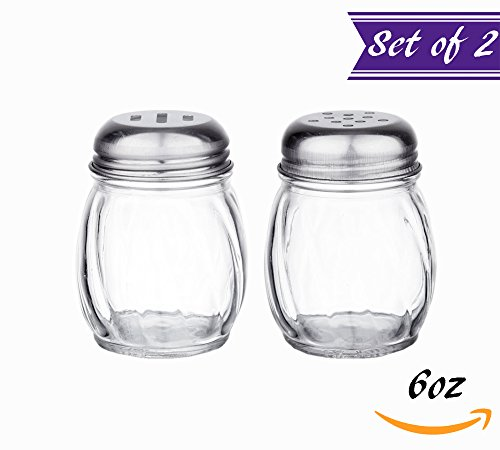 6-Ounces Glass Cheese and Spice Shakers with Stainless Stee