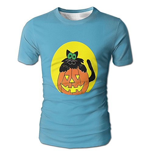 A Cartoon Black Cat With Pumpkin GraphicMens Slim Fit Short Sleeves Athletic Muscle Round Neck T-Shirt