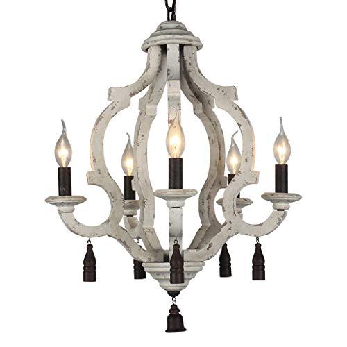 (DOCHEER Vintage Rustic Metal Wooden Chandelier 5-Candle Holder Lights Wood Metal Chandeliers Pendant Ceiling Lamp Hanging Lighting for Home Decor Dining Room Bedroom Lighting)