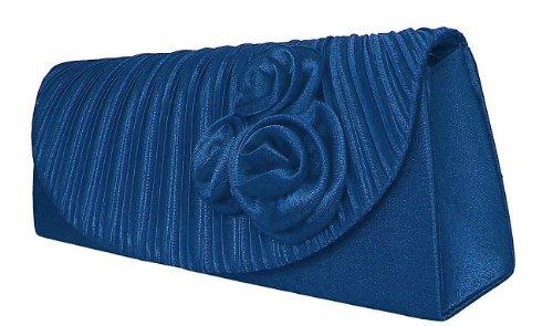 Damen Satin Abendtasche,Clutch Handtasche Blau,Royalblau