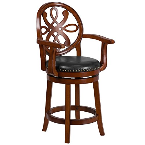 Flash Furniture 26'' High Brandy Wood Counter Height Stool with Arms and Black Leather Swivel Seat