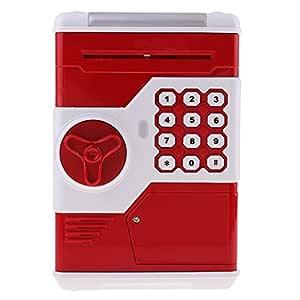 Sharplace taşınabilir Tresor form kasa bozuk para kumbara Gelddose Box ile müzik & flaş, pil ile çalışır (3* AAA pil), plastik, Kırmızı, # A