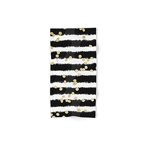 Society6 Modern Black Watercolor Stripes Chic Gold Confet...